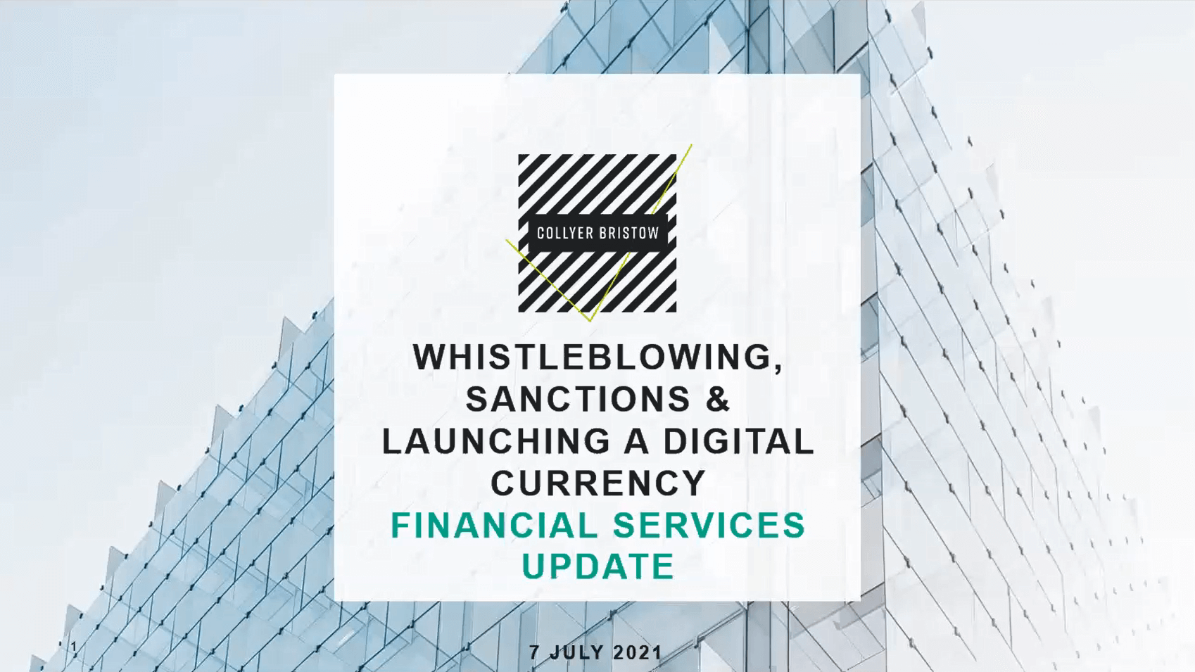 Financial Services webinar: Whistleblowing, sanctions regimes and launching a digital currency